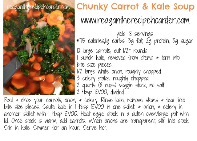 carrot kale soup recipe card