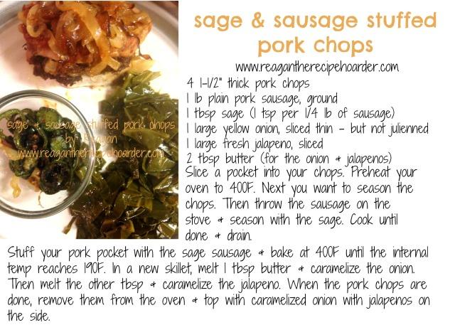 sage sausage stuffed chops recipe card