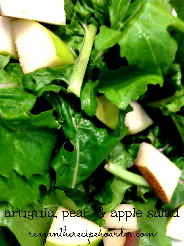 arugula, pear, & apple salad.